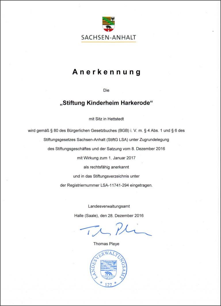 Stiftung Kinderheim Harkerode ANERKENNUNGSURKUNDE